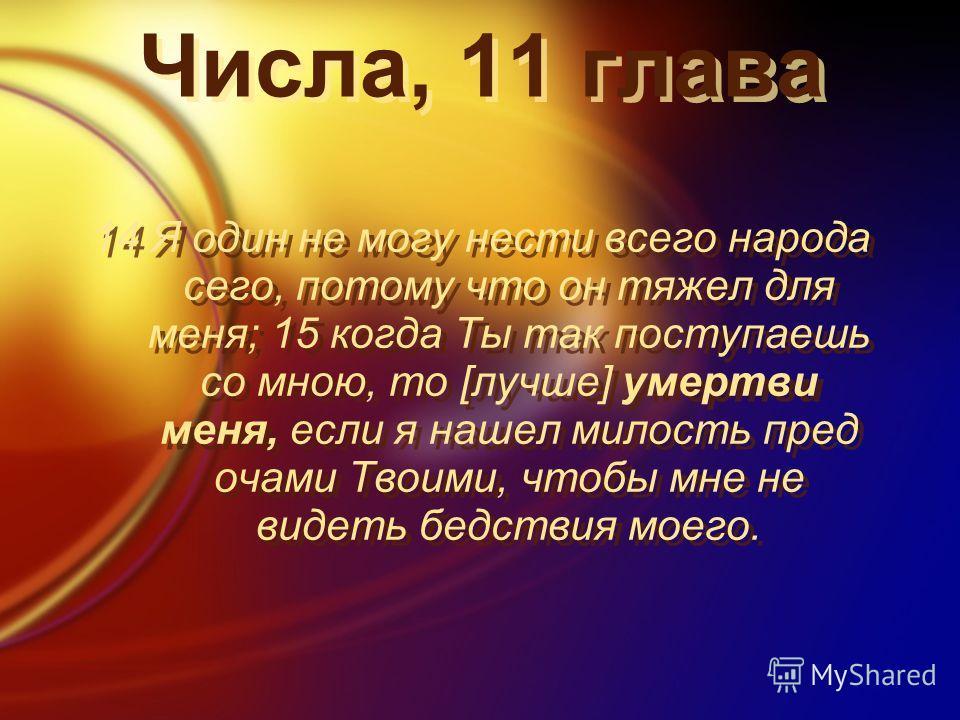 Числа, 11 глава 14 Я один не могу нести всего народа сего, потому что он тяжел для меня; 15 когда Ты так поступаешь со мною, то [лучше] умертви меня, если я нашел милость пред очами Твоими, чтобы мне не видеть бедствия моего.