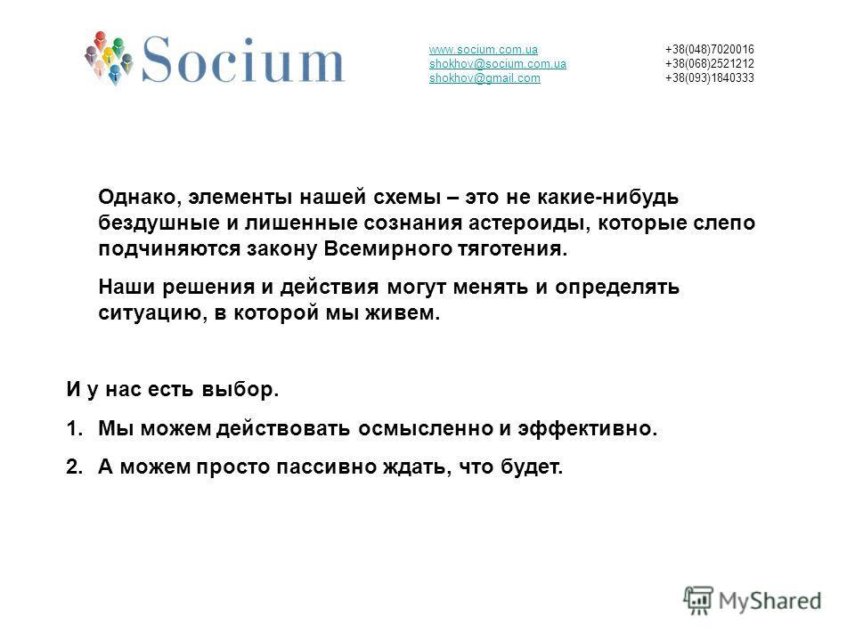 www.socium.com.ua shokhov@socium.com.ua shokhov@gmail.com +38(048)7020016 +38(068)2521212 +38(093)1840333 Однако, элементы нашей схемы – это не какие-нибудь бездушные и лишенные сознания астероиды, которые слепо подчиняются закону Всемирного тяготени