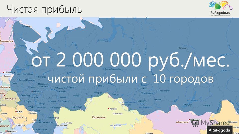 #RuPogoda Чистая прибыль от 2 000 000 руб./мес. чистой прибыли с 10 городов #RuPogoda