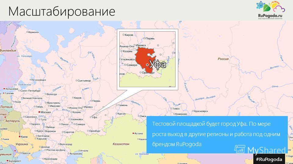 Масштабирование Тестовой площадкой будет город Уфа. По мере роста выход в другие регионы и работа под одним брендом RuPogoda #RuPogoda