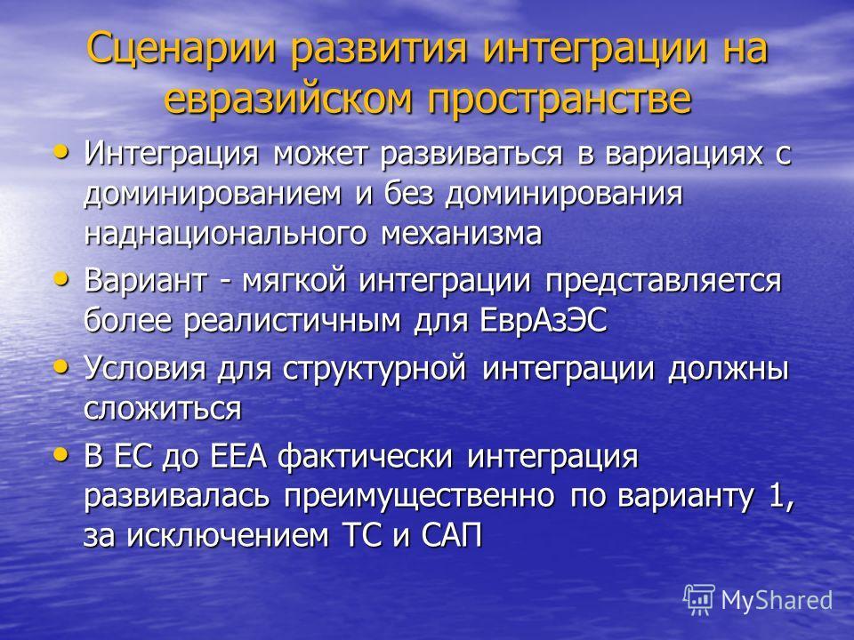 Сценарии развития интеграции на евразийском пространстве Интеграция может развиваться в вариациях с доминированием и без доминирования наднационального механизма Интеграция может развиваться в вариациях с доминированием и без доминирования наднациона