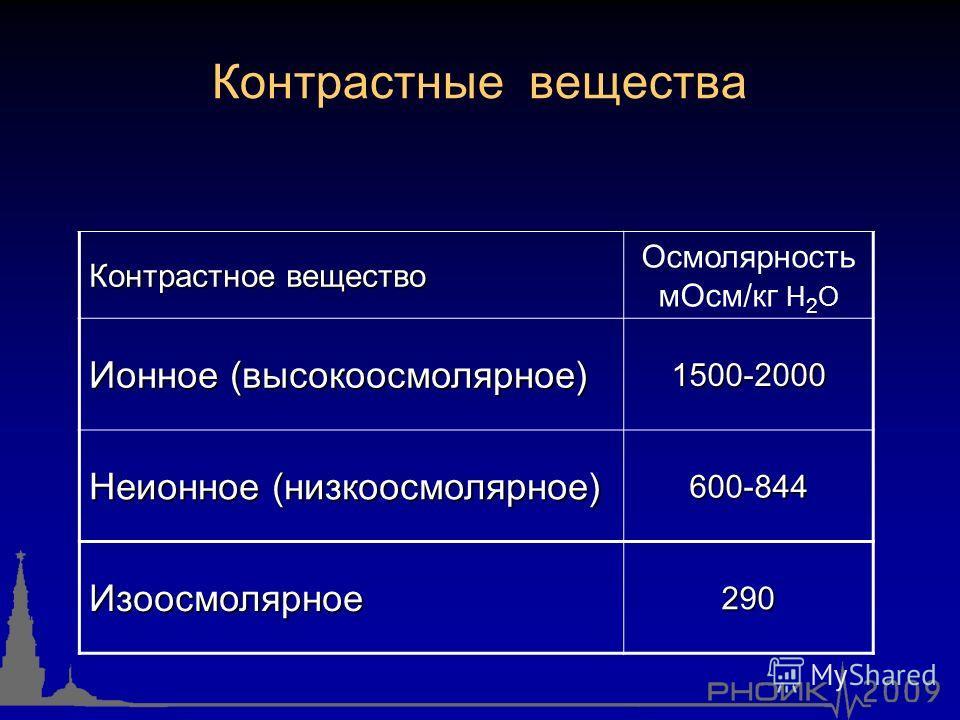 Контрастные вещества Контрастное вещество Осмолярность мОсм/кг H 2 O Ионное (высокоосмолярное) 1500-2000 Неионное (низкоосмолярное) 600-844 Изоосмолярное290