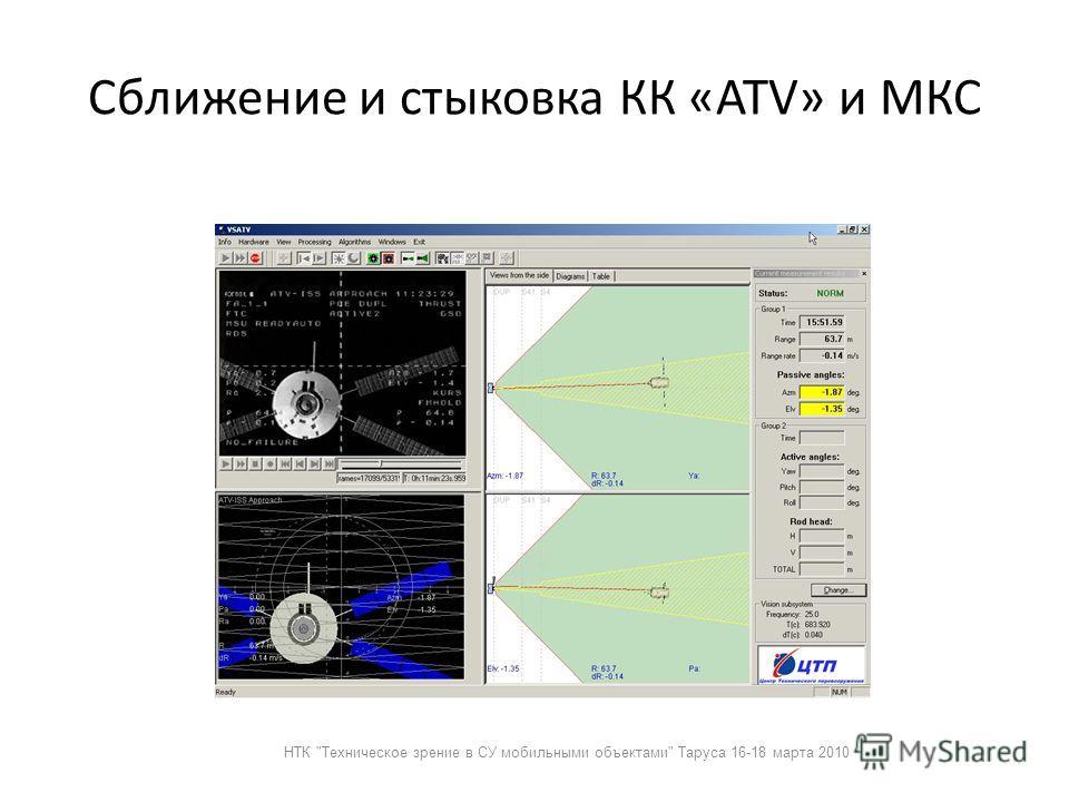 Сближение и стыковка КК «ATV» и МКС НТК Техническое зрение в СУ мобильными объектами Таруса 16-18 марта 2010