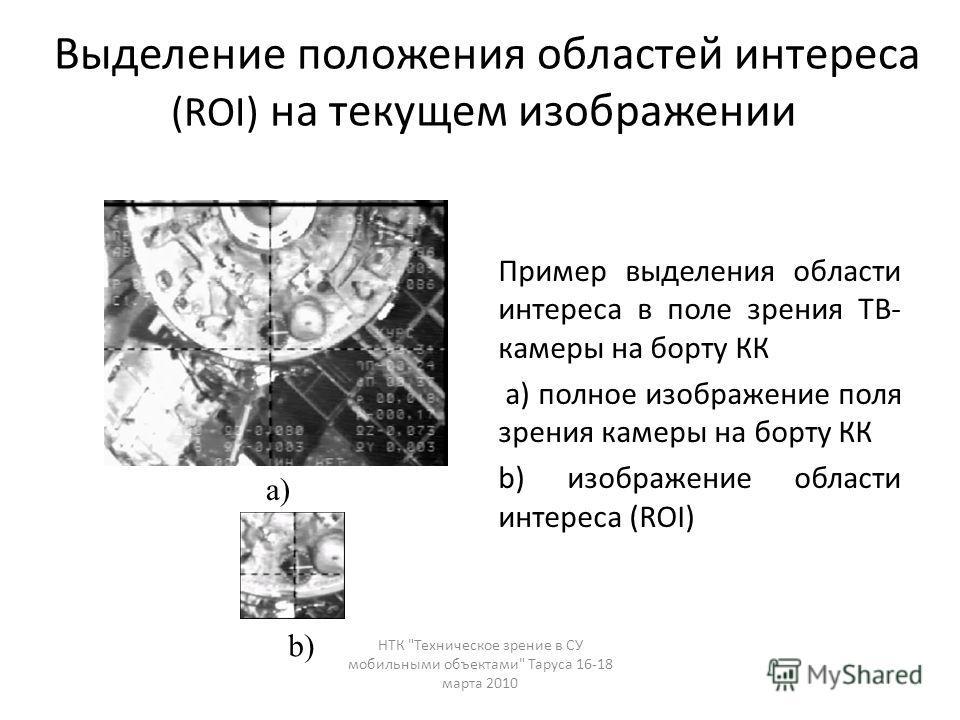 Выделение положения областей интереса (ROI) на текущем изображении Пример выделения области интереса в поле зрения ТВ- камеры на борту КК a) полное изображение поля зрения камеры на борту КК b) изображение области интереса (ROI) a) b) НТК