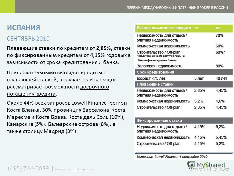 (495) 744-0039   www.lowellfinance.com ПЕРВЫЙ МЕЖДУНАРОДНЫЙ ИПОТЕЧНЫЙ БРОКЕР В РОССИИ ИСПАНИЯ СЕНТЯБРЬ 2010 Плавающие ставки по кредитам от 2,85%, ставки по фиксированным кредитам от 4,15% годовых в зависимости от срока кредитования и банка. Привлека