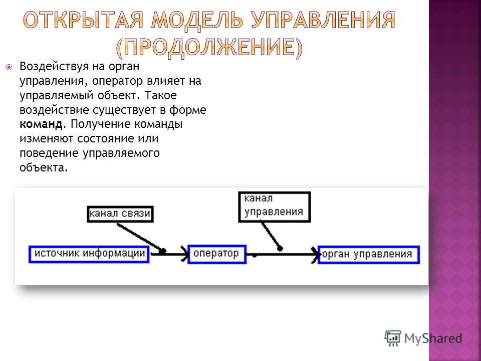 Воздействуя на орган управления, оператор влияет на управляемый объект. Такое воздействие существует в форме команд. Получение команды изменяют состояние или поведение управляемого объекта.