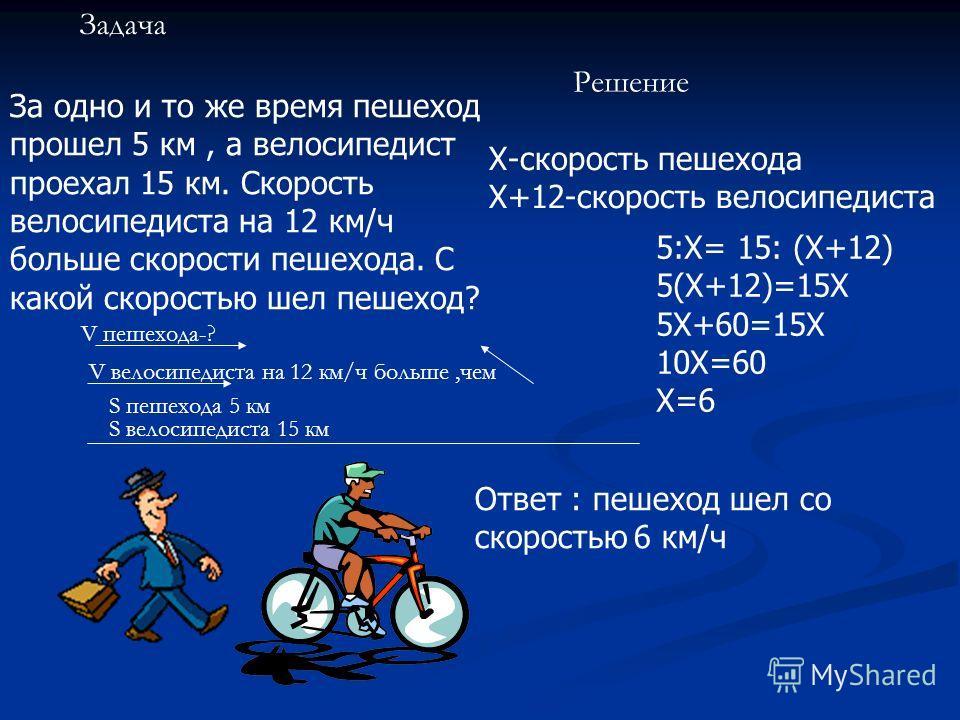 Задача За одно и то же время пешеход прошел 5 км, а велосипедист проехал 15 км. Скорость велосипедиста на 12 км/ч больше скорости пешехода. С какой скоростью шел пешеход? V пешехода-? V велосипедиста на 12 км/ч больше,чем S пешехода 5 км S велосипеди
