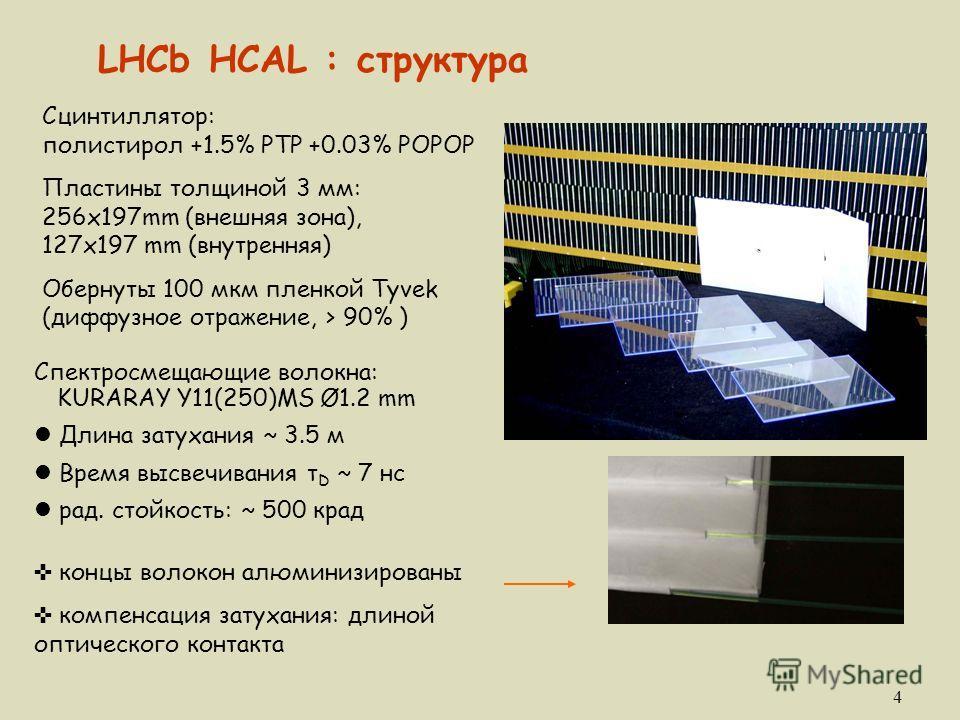 4 Спектросмещающие волокна: KURARAY Y11(250)MS Ø1.2 mm l Длина затухания ~ 3.5 м l Время высвечивания τ D ~ 7 нс l рад. стойкость: ~ 500 крад Сцинтиллятор: полистирол +1.5% PTP +0.03% POPOP Пластины толщиной 3 мм: 256x197mm (внешняя зона), 127x197 mm