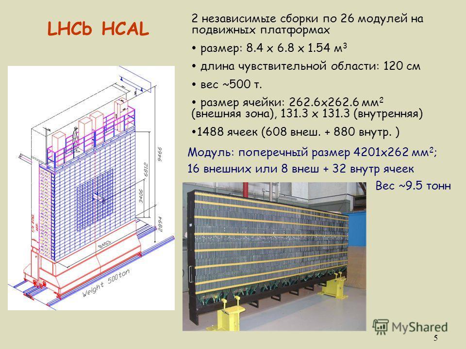 5 LHCb HCAL 2 независимые сборки по 26 модулей на подвижных платформах Ÿ размер: 8.4 x 6.8 х 1.54 м 3 Ÿ длина чувствительной области: 120 см Ÿ вес ~500 т. Ÿ размер ячейки: 262.6x262.6 мм 2 (внешняя зона), 131.3 x 131.3 (внутренняя) Ÿ1488 ячеек (608 в
