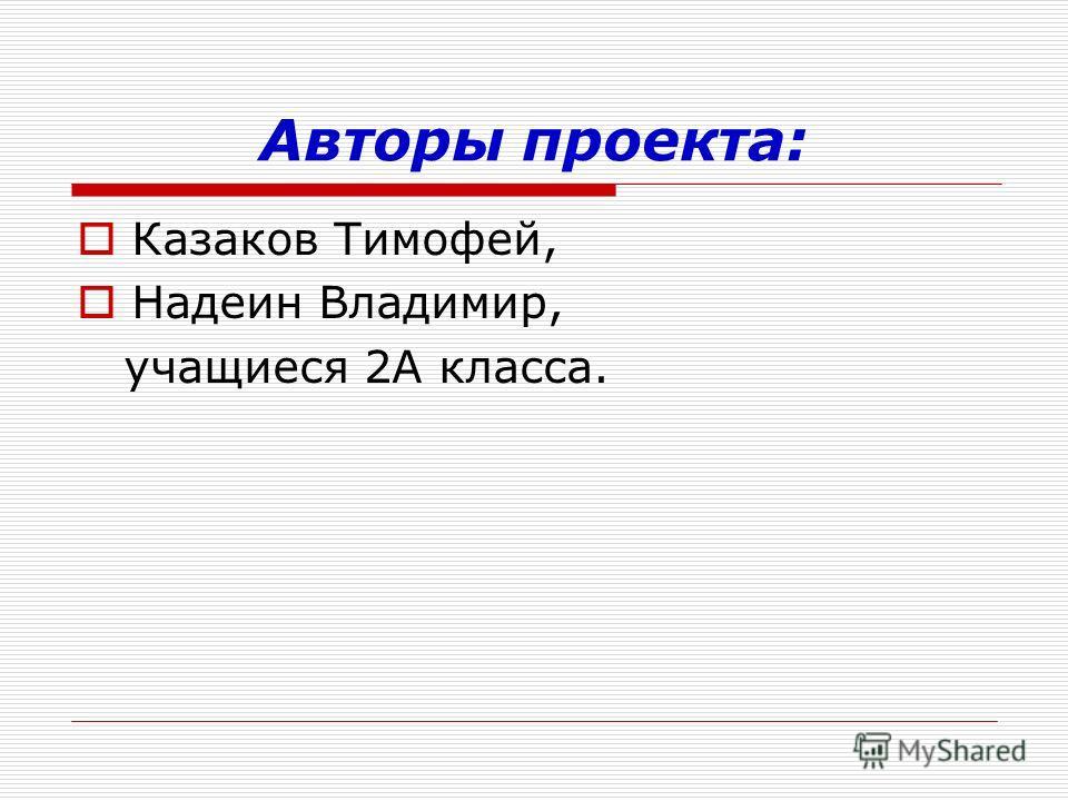 Авторы проекта: Казаков Тимофей, Надеин Владимир, учащиеся 2А класса.