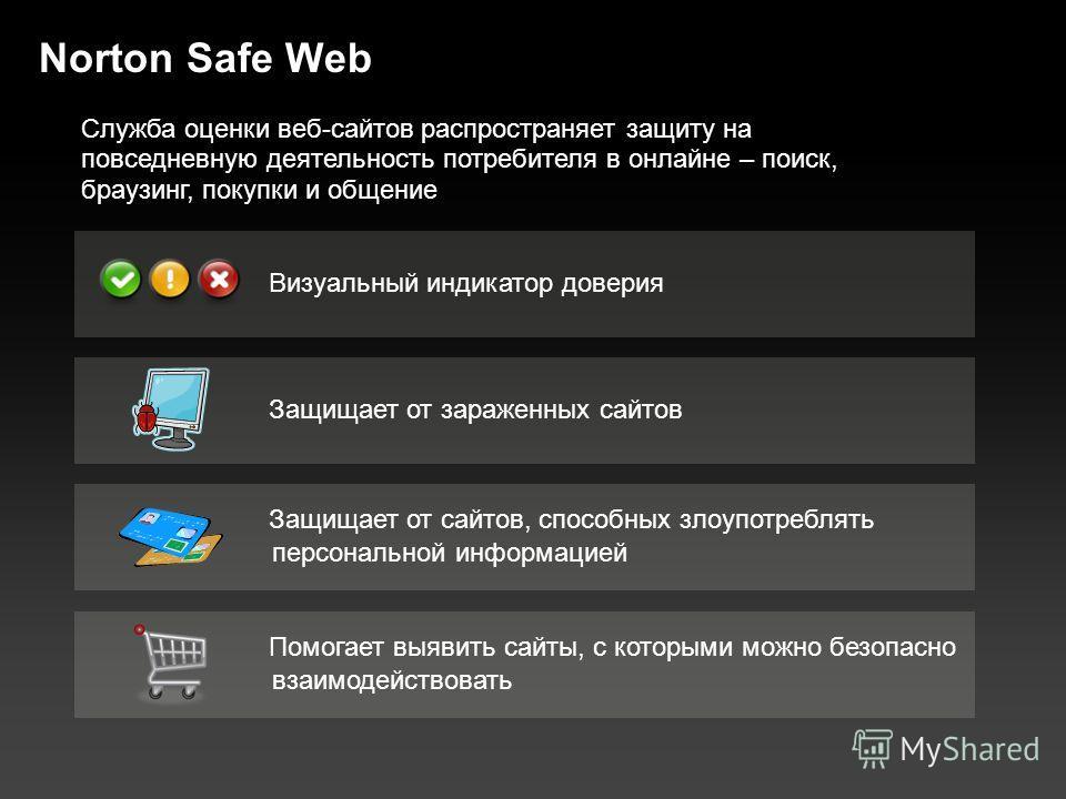 Norton Safe Web Защищает от зараженных сайтов Помогает выявить сайты, с которыми можно безопасно взаимодействовать Визуальный индикатор доверия Защищает от сайтов, способных злоупотреблять персональной информацией Служба оценки веб-сайтов распростран