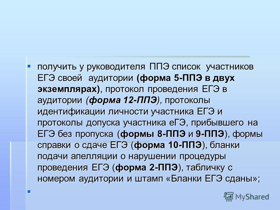 получить у руководителя ППЭ список участников ЕГЭ своей аудитории (форма 5-ППЭ в двух экземплярах), протокол проведения ЕГЭ в аудитории (форма 12-ППЭ), протоколы идентификации личности участника ЕГЭ и протоколы допуска участника еГЭ, прибывшего на ЕГ
