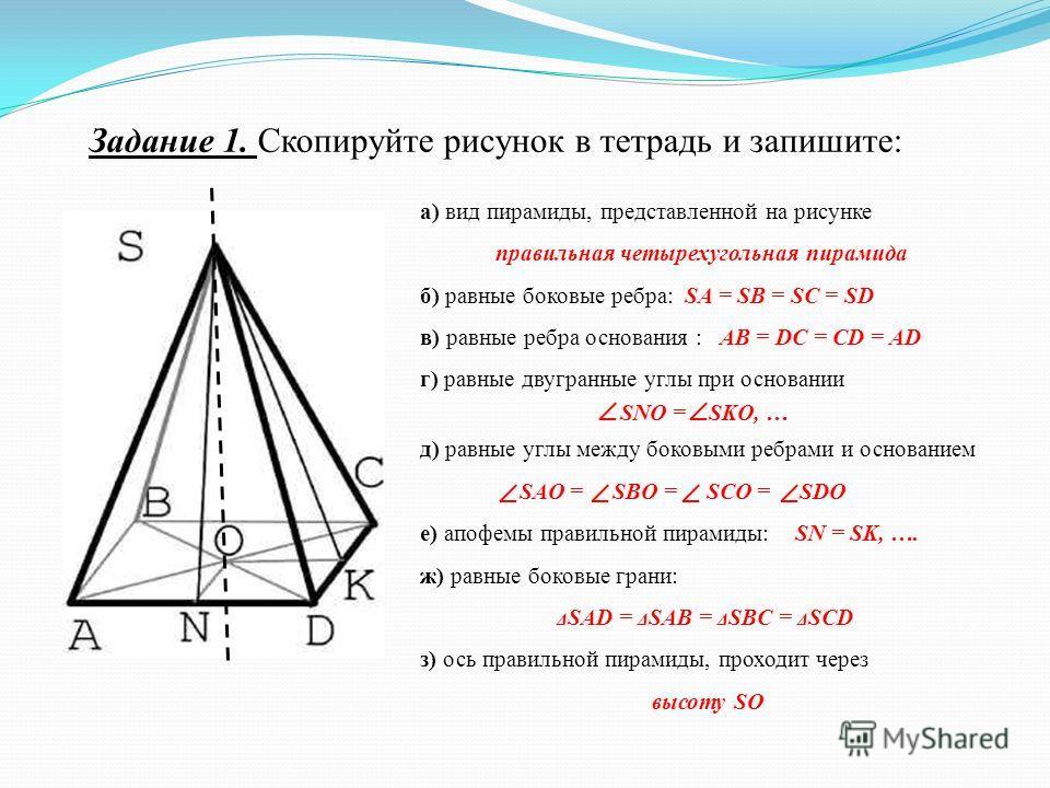 Задание 1. Скопируйте рисунок в тетрадь и запишите: а) вид пирамиды, представленной на рисунке правильная четырехугольная пирамида б) равные боковые ребра: SA = SB = SC = SD в) равные ребра основания : AB = DC = CD = AD г) равные двугранные углы при
