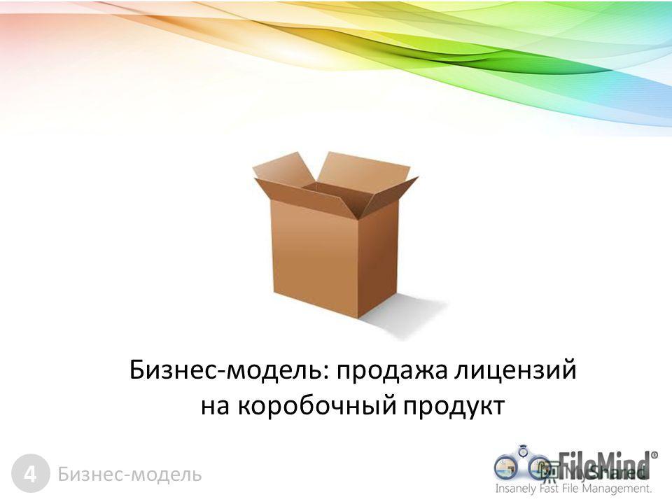 4 Бизнес-модель Бизнес-модель: продажа лицензий на коробочный продукт