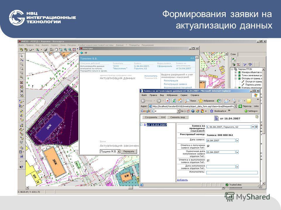 Формирования заявки на актуализацию данных