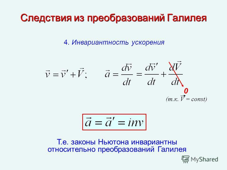 Следствия из преобразований Галилея Т.е. законы Ньютона инвариантны относительно преобразований Галилея 0 4. Инвариантность ускорения (т.к. V = const)