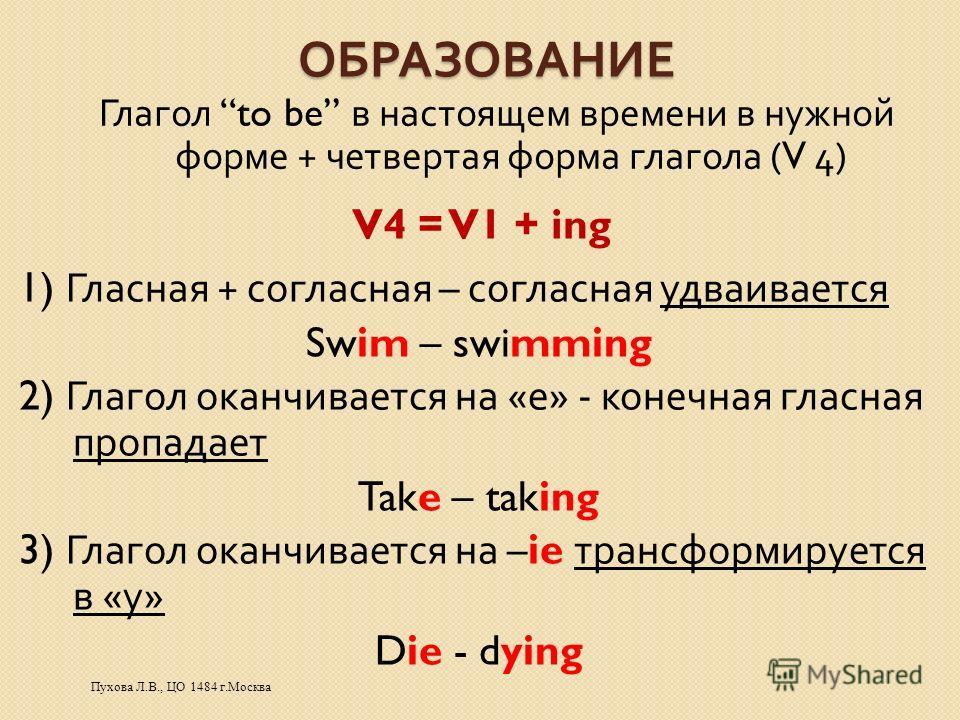 ОБРАЗОВАНИЕ V4 = V1 + ing Глагол to be в настоящем времени в нужной форме + четвертая форма глагола (V 4) 1) Гласная + согласная – согласная удваивается Swim – swimming 2) Глагол оканчивается на « е » - конечная гласная пропадает Take – taking 3) Гла