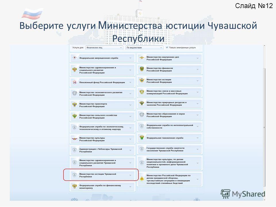 Выберите услуги М инистерства юстиции Чувашской Республики Слайд 12