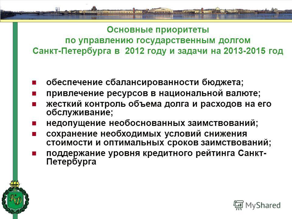 Основные приоритеты по управлению государственным долгом Санкт-Петербурга в 2012 году и задачи на 2013-2015 год обеспечение сбалансированности бюджета; привлечение ресурсов в национальной валюте; жесткий контроль объема долга и расходов на его обслуж