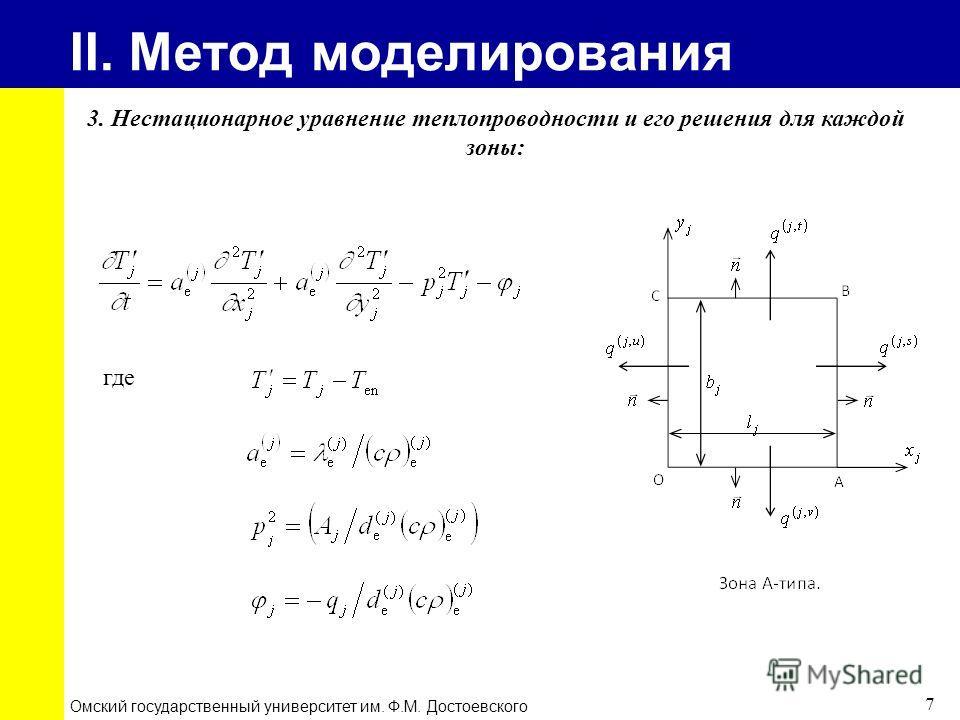 II. Метод моделирования Омский государственный университет им. Ф.М. Достоевского 7 где 3. Нестационарное уравнение теплопроводности и его решения для каждой зоны: