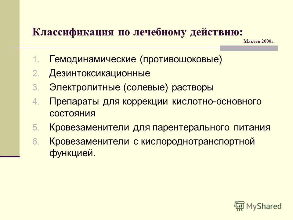 Классификация по лечебному действию: Макеев 2000г. 1. Гемодинамические (противошоковые) 2. Дезинтоксикационные 3. Электролитные (солевые) растворы 4. Препараты для коррекции кислотно-основного состояния 5. Кровезаменители для парентерального питания