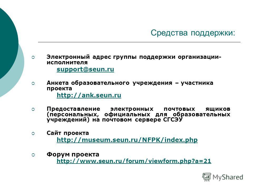 Средства поддержки: Электронный адрес группы поддержки организации- исполнителя support@seun.ru Анкета образовательного учреждения – участника проекта http://ank.seun.ru Предоставление электронных почтовых ящиков (персональных, официальных для образо