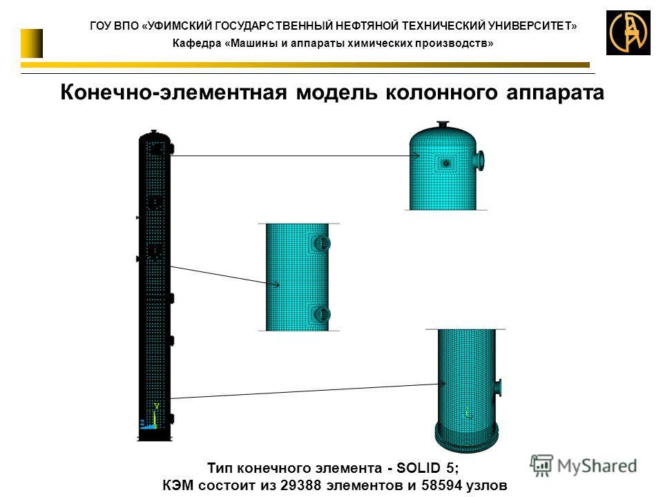 Конечно-элементная модель колонного аппарата Тип конечного элемента - SOLID 5; КЭМ состоит из 29388 элементов и 58594 узлов ГОУ ВПО «УФИМСКИЙ ГОСУДАРСТВЕННЫЙ НЕФТЯНОЙ ТЕХНИЧЕСКИЙ УНИВЕРСИТЕТ» Кафедра «Машины и аппараты химических производств»
