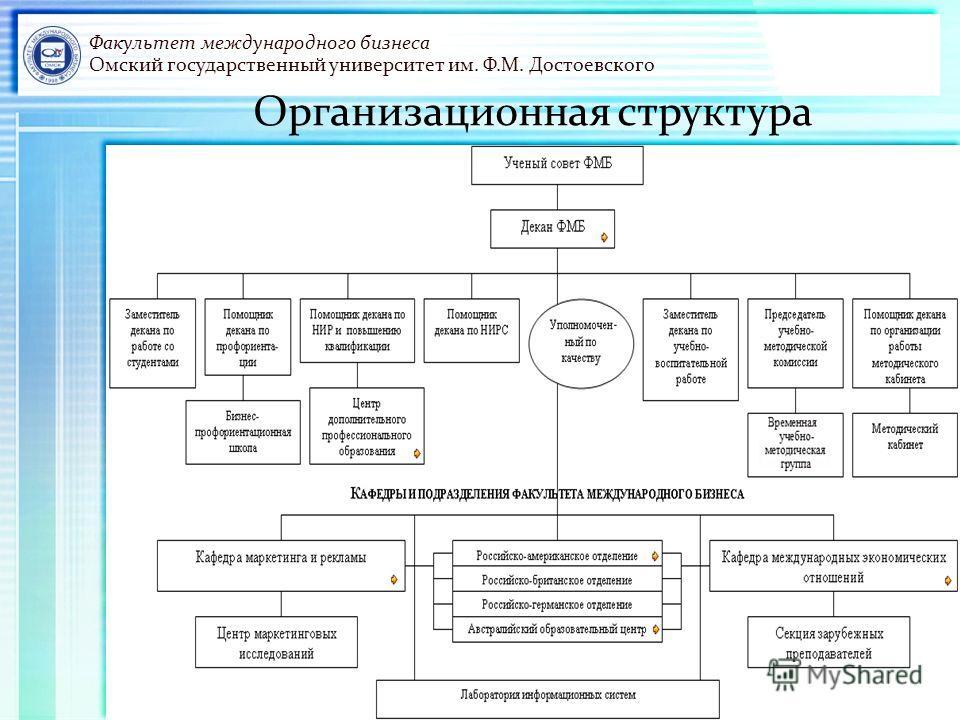 Факультет международного бизнеса Омский государственный университет им. Ф.М. Достоевского Организационная структура