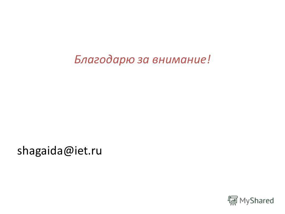 Благодарю за внимание! shagaida@iet.ru