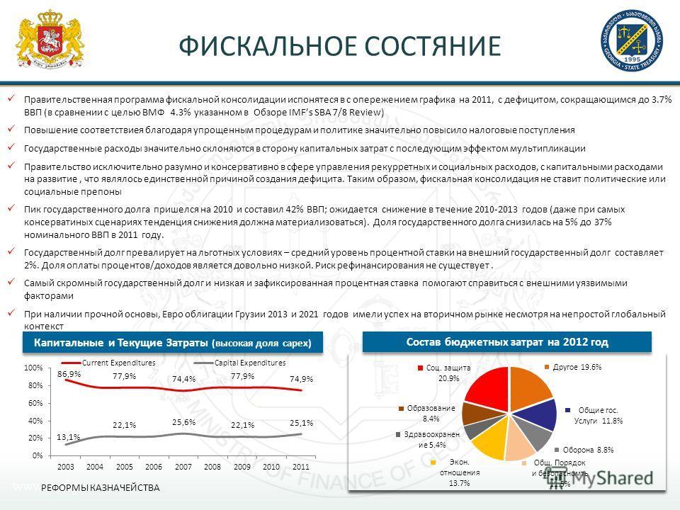 Правительственная программа фискальной консолидации испонятеся в с опережением графика на 2011, с дефицитом, сокращающимся до 3.7% ВВП (в сравнении с целью ВМФ 4.3% указанном в Обзоре IMFs SBA 7/8 Review) Повышение соответствиея благодаря упрощенным