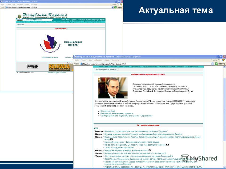 Петрозаводский государственный университет Актуальная тема