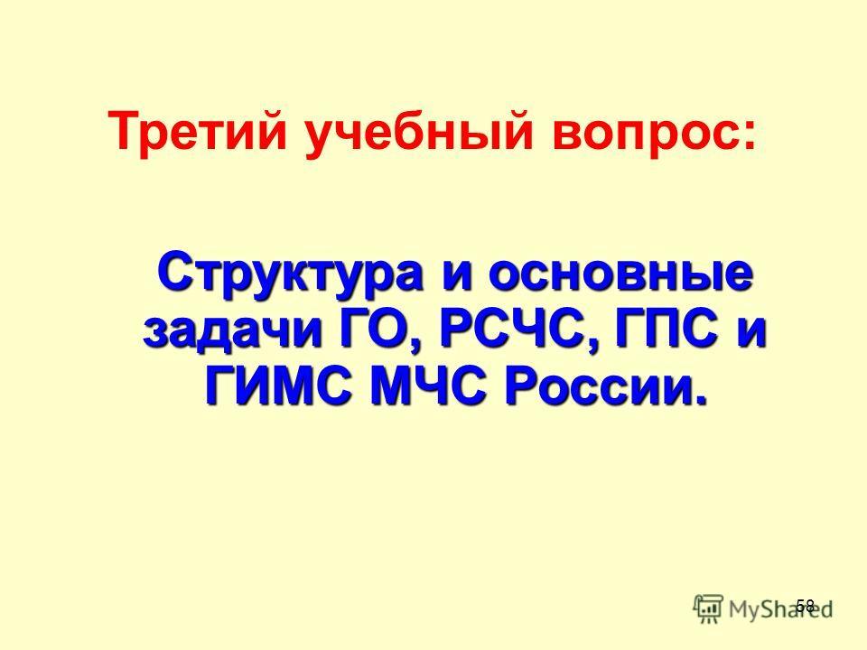 58 Третий учебный вопрос: Структура и основные задачи ГО, РСЧС, ГПС и ГИМС МЧС России.