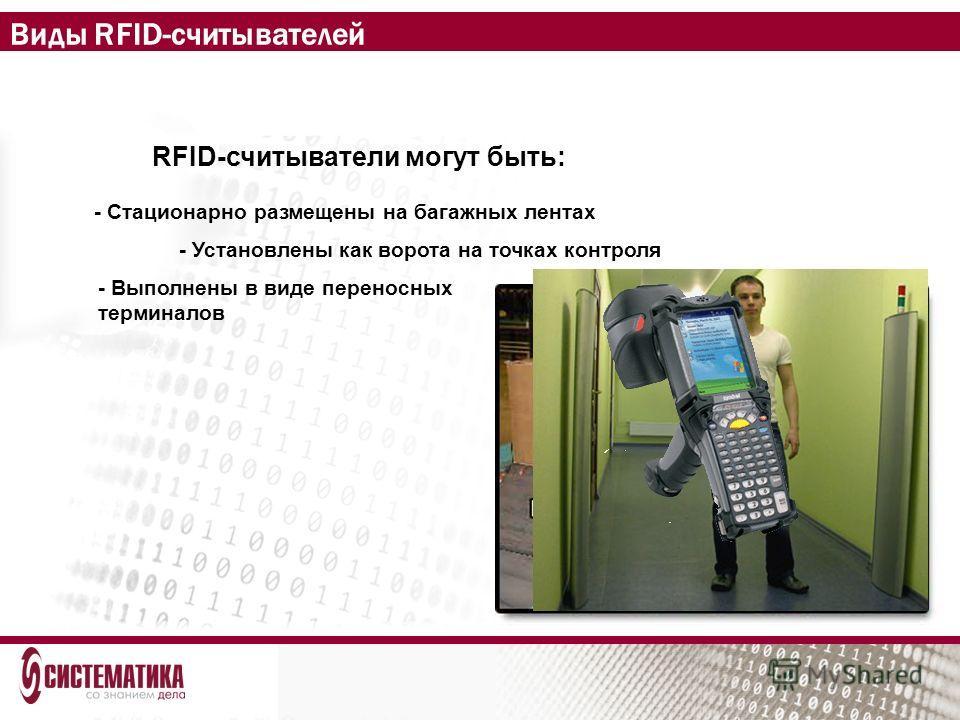Виды RFID-считывателей RFID-считыватели могут быть: - Стационарно размещены на багажных лентах - Установлены как ворота на точках контроля - Выполнены в виде переносных терминалов