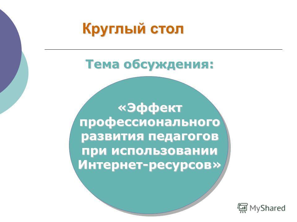 Круглый стол Тема обсуждения: «Эффект профессионального развития педагогов при использовании Интернет-ресурсов»