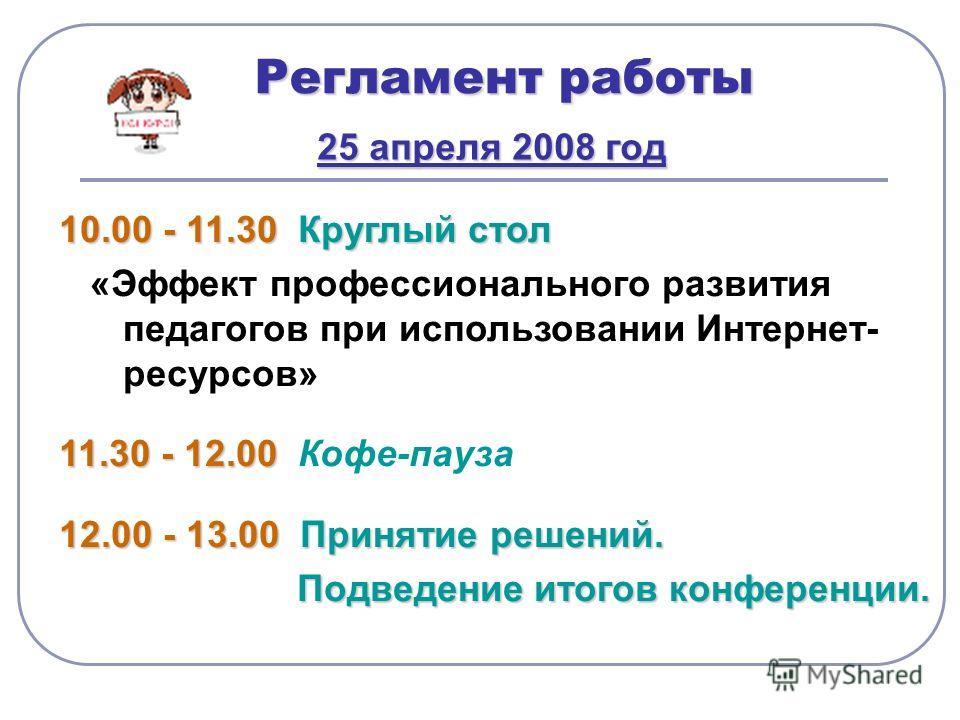 Регламент работы 25 апреля 2008 год 10.00 - 11.30 Круглый стол «Эффект профессионального развития педагогов при использовании Интернет- ресурсов» 11.30 - 12.00 Кофе-пауза 12.00 - 13.00 П ринятие решений. одведение итогов конференции.