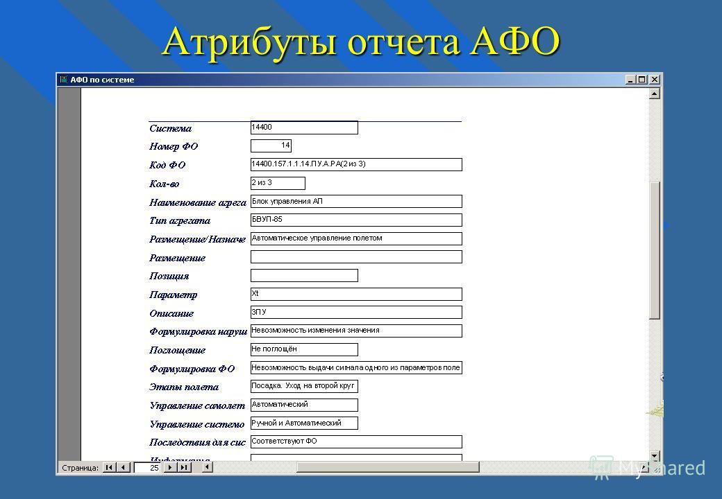 Атрибуты отчета АФО