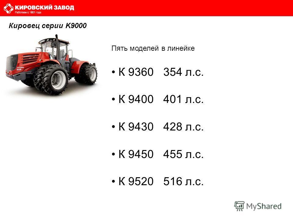 Пять моделей в линейке К 9360 354 л.с. К 9400 401 л.с. К 9430 428 л.с. К 9450 455 л.с. К 9520 516 л.с. Кировец серии K9000