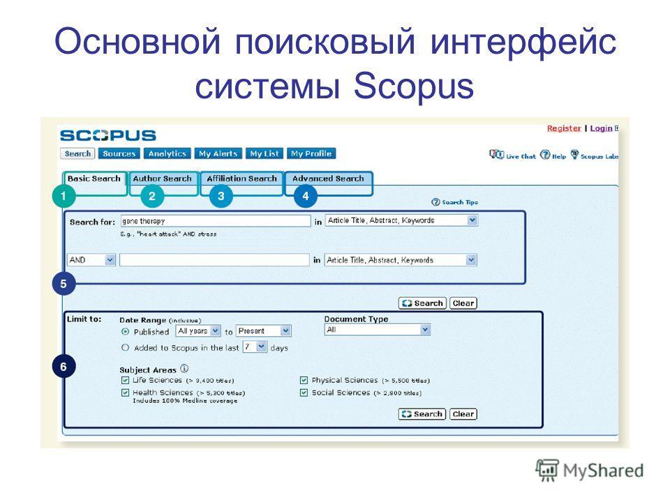Основной поисковый интерфейс системы Scopus