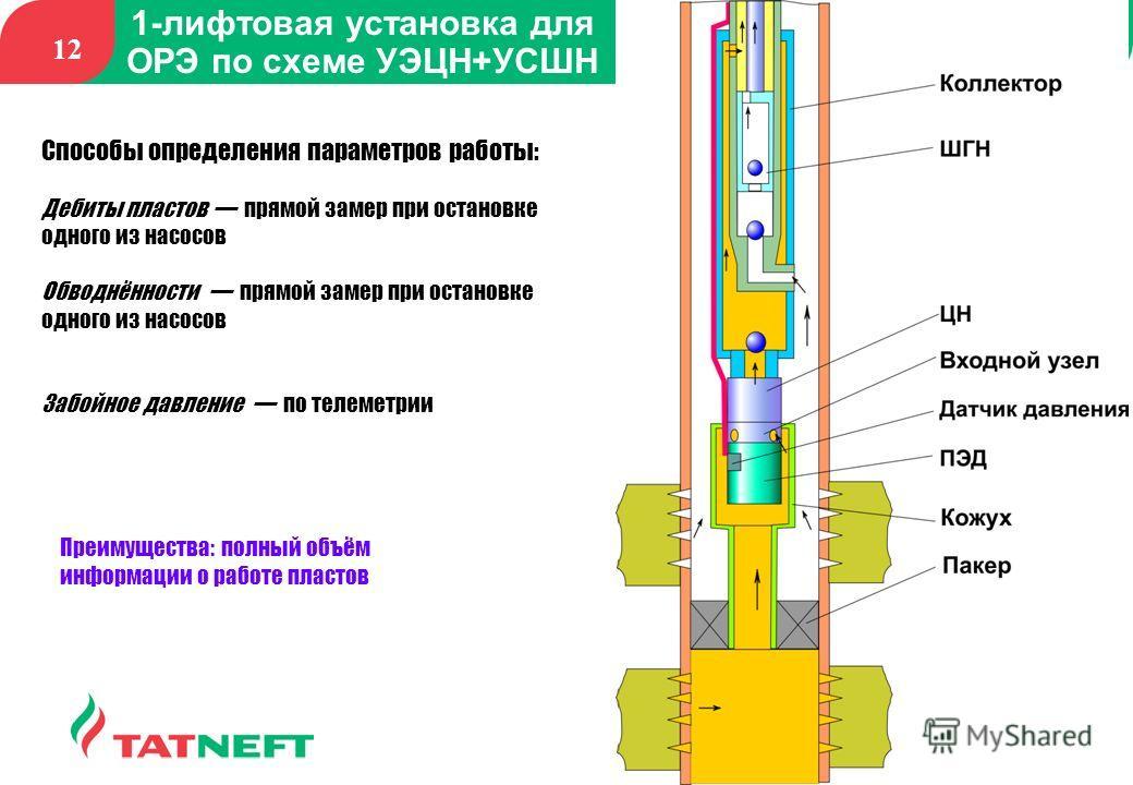 12 1-лифтовая установка для ОРЭ по схеме УЭЦН+УСШН Способы определения параметров работы: Дебиты пластов прямой замер при остановке одного из насосов Обводнённости прямой замер при остановке одного из насосов Забойное давление по телеметрии Преимущес