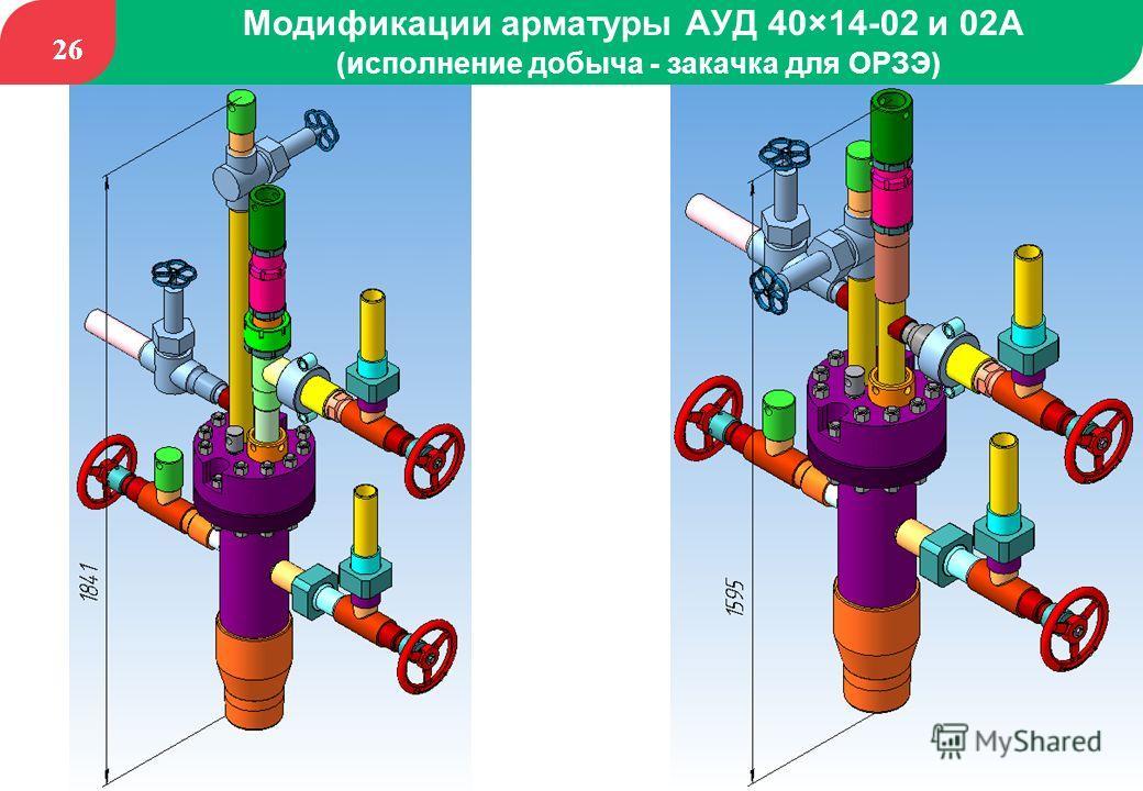 26 Модификации арматуры АУД 40×14-02 и 02А (исполнение добыча - закачка для ОРЗЭ)
