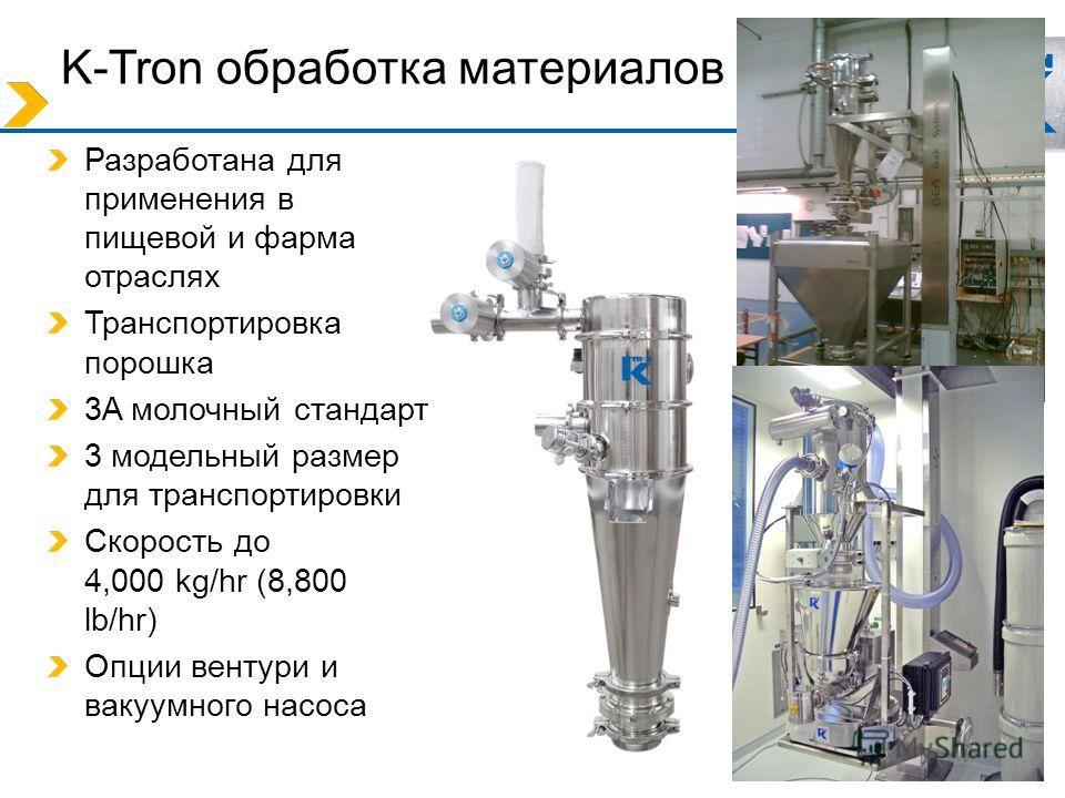 K-Tron обработка материалов Разработана для применения в пищевой и фарма отраслях Транспортировка порошка 3A молочный стандарт 3 модельный размер для транспортировки Скорость до 4,000 kg/hr (8,800 lb/hr) Опции вентури и вакуумного насоса
