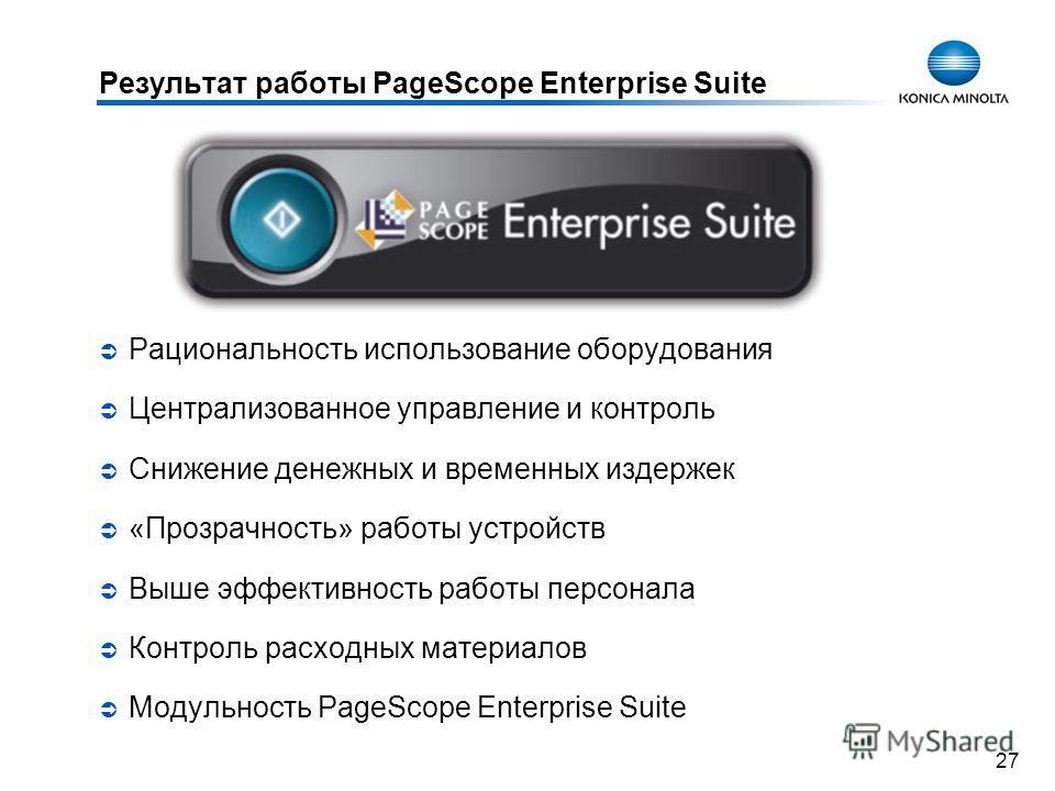 27 Результат работы PageScope Enterprise Suite Рациональность использование оборудования Централизованное управление и контроль Снижение денежных и временных издержек «Прозрачность» работы устройств Выше эффективность работы персонала Контроль расход