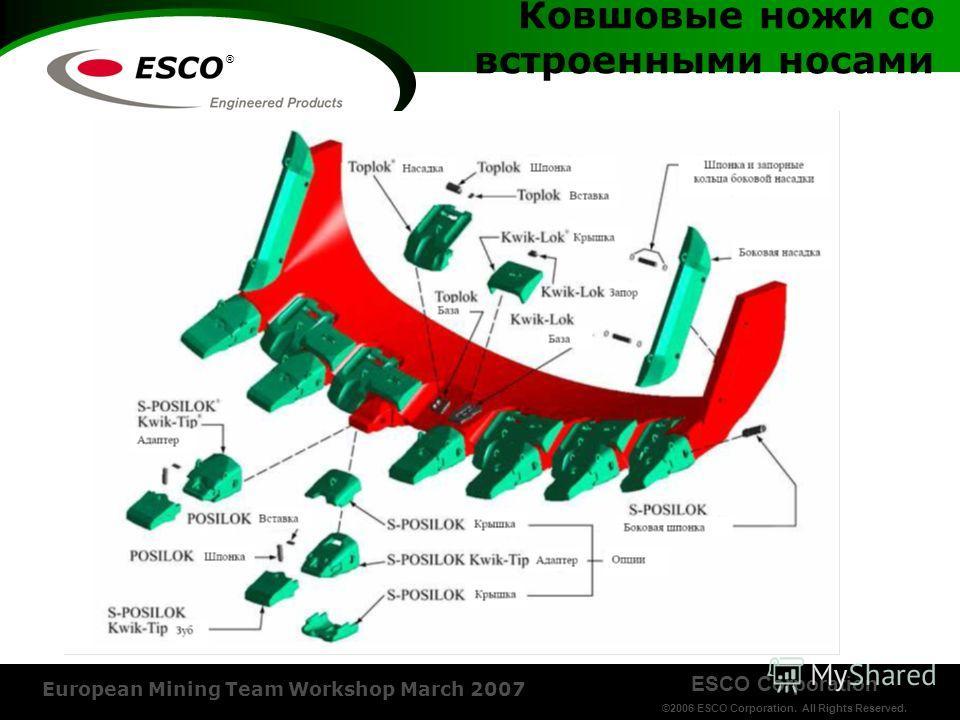 ESCO Corporation ©2006 ESCO Corporation. All Rights Reserved. European Mining Team Workshop March 2007 ® Ковшовые ножи со встроенными носами