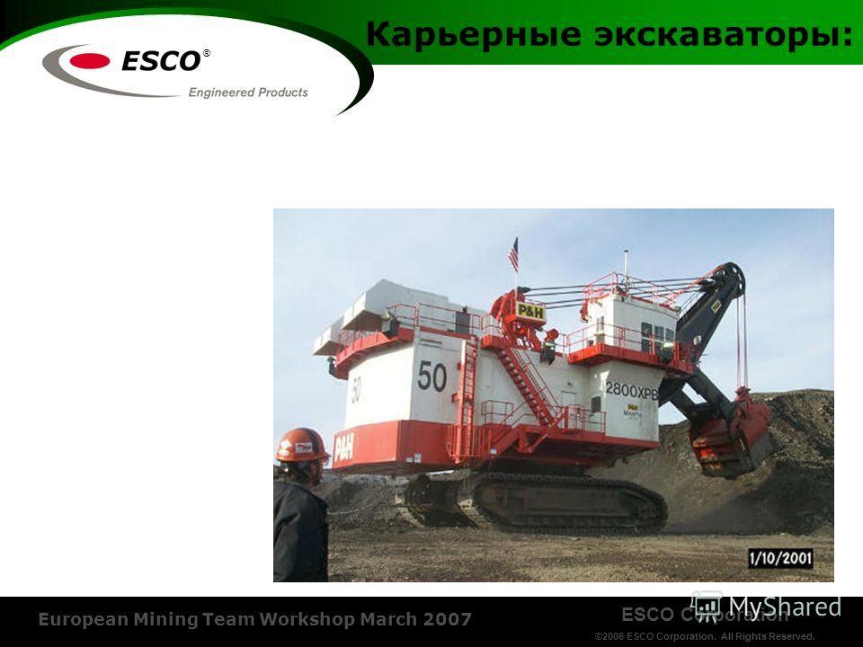 ESCO Corporation ©2006 ESCO Corporation. All Rights Reserved. European Mining Team Workshop March 2007 ® Карьерные экскаваторы: