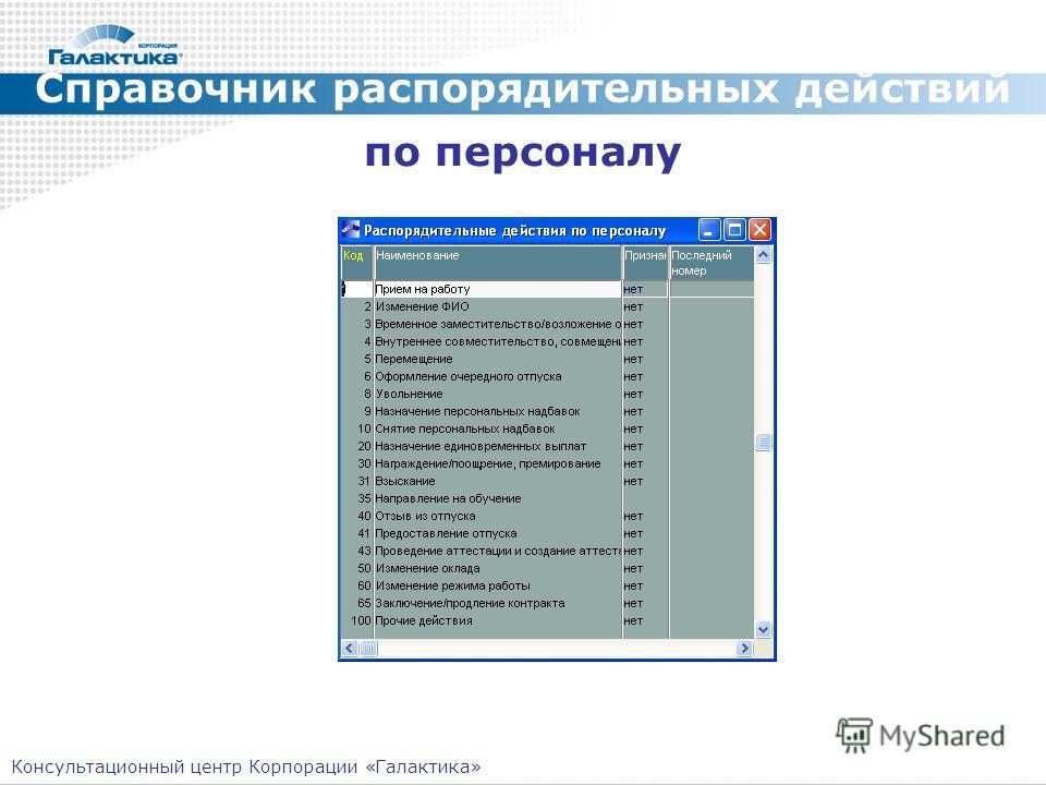 Справочник распорядительных действий по персоналу Консультационный центр Корпорации «Галактика»