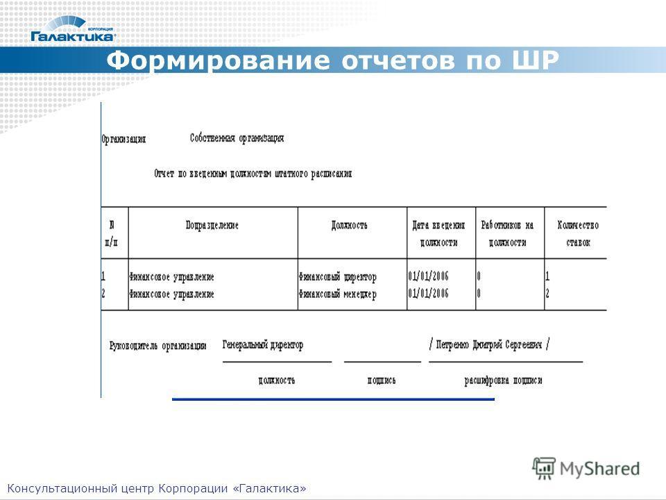 Формирование отчетов по ШР Консультационный центр Корпорации «Галактика»