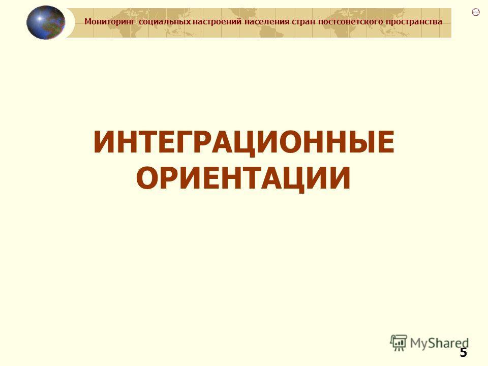 Мониторинг социальных настроений населения стран постсоветского пространства 5 ИНТЕГРАЦИОННЫЕ ОРИЕНТАЦИИ