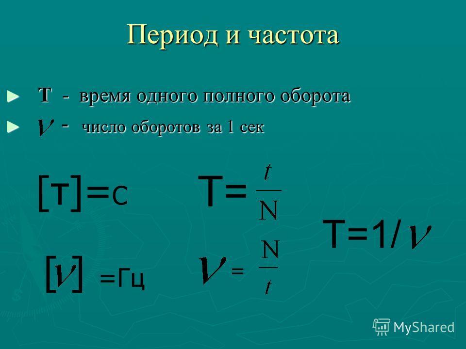 Период и частота Т - время одного полного оборота Т - время одного полного оборота - число оборотов за 1 сек - число оборотов за 1 сек T= = [т]= С [ ] =Гц T=1/