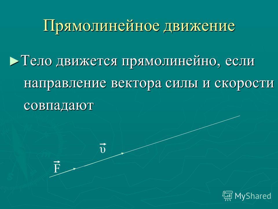 Прямолинейное движение Тело движется прямолинейно, если Тело движется прямолинейно, если направление вектора силы и скорости направление вектора силы и скорости совпадают совпадают F υ