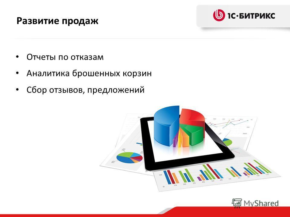 Развитие продаж Отчеты по отказам Аналитика брошенных корзин Сбор отзывов, предложений